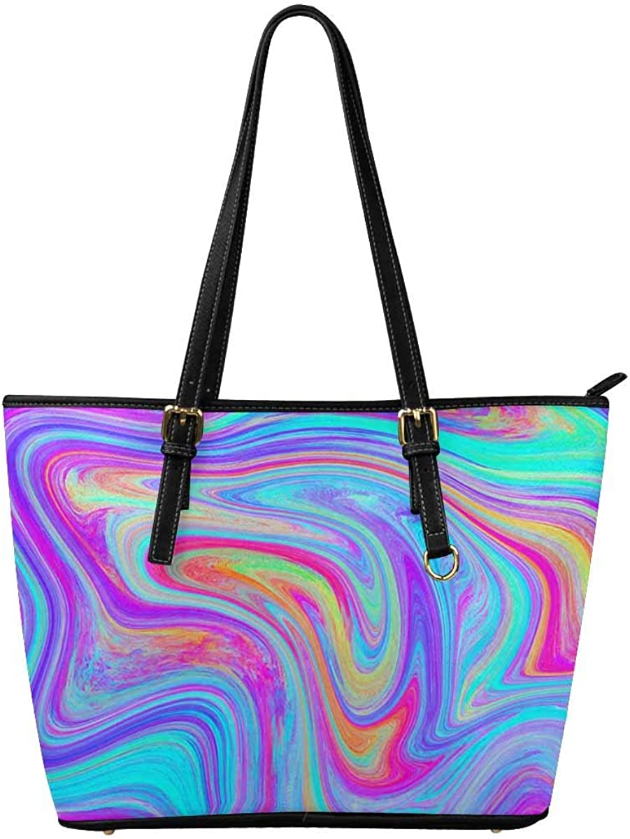 InterestPrint Top Handle Satchel HandBags Shoulder Bags Tote Bags Purse Colorful Marble Texture