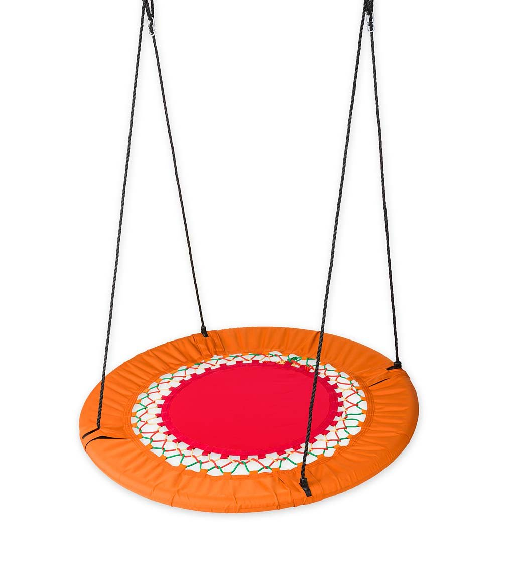 Mega FunShine Platform Saucer Tree Swing - Giant Round Nylon Mat with Bungee Rope Webbing - Padded Steel Frame - Orange and Red - Outdoor Play Equipment - 45-Inch Diam, 56-Inch Hanging Ropes by HearthSong® (Image #1)