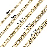 Bowisheet 4-8.5mm Figaro Link Chain Necklace 16-36 Inches Golden Stainless Steel Necklace Men Women Jewelry