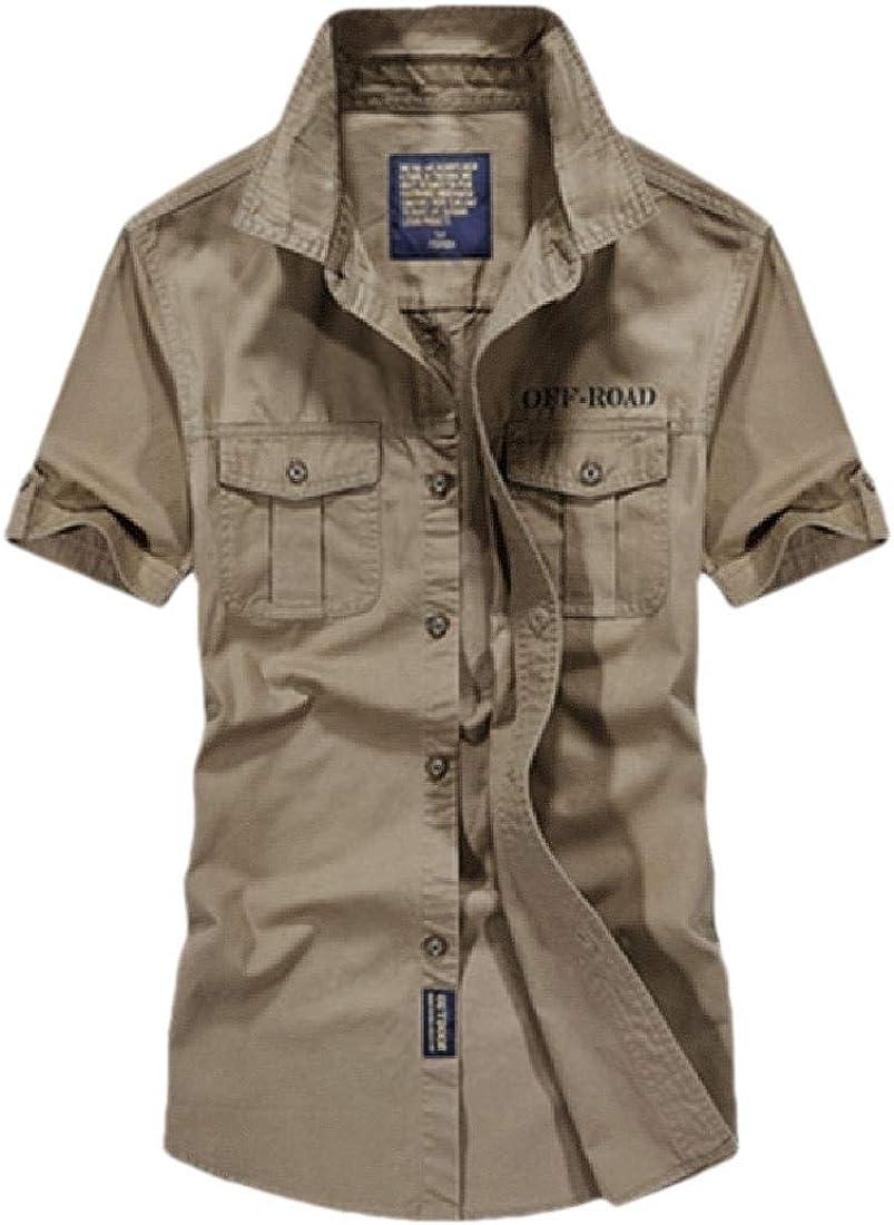 hower Men Fashion Short Sleeve Shirt Button Down Casual Solid Dress Shirt