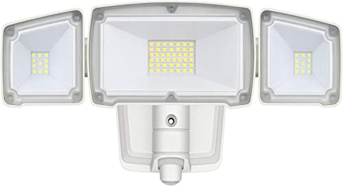 LED Security Lights, 28W 3000LM Motion Sensor Light Outdoor, GLORIOUS-LITE Super Bright 2 Head Outdoor Flood Light, 5500K, IP65 Waterproof, ETL Certified for Garage, Yard, Porch NO Solar Power