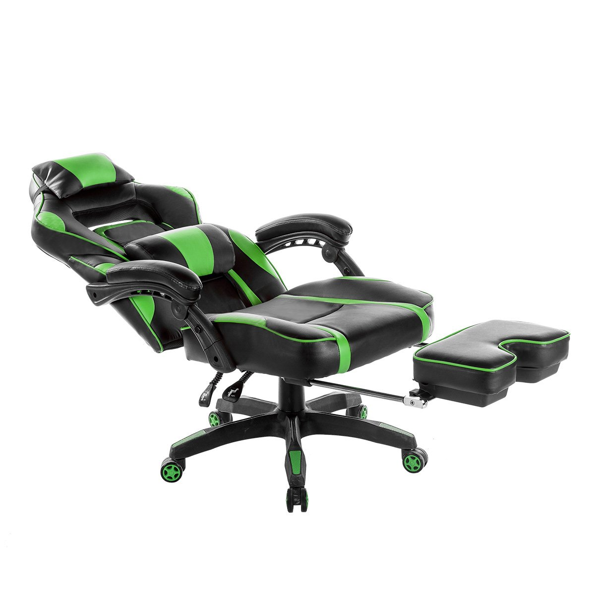 Merax Racing Office Chair Green and Black PU Leather Home Office Chair Computer Gaming Chair with Headrest and Lumbar Support (Green)