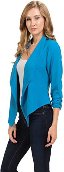 Women's Sleeve Casual Work Lined Open Front Cardigan Blazer