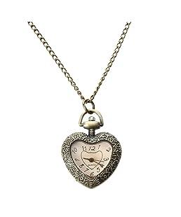 Orologio da tasca - SODIAL(R) Della catena della collana a forma di cuore antico dell'annata Movimento Pocket Watch Quartz Pendant