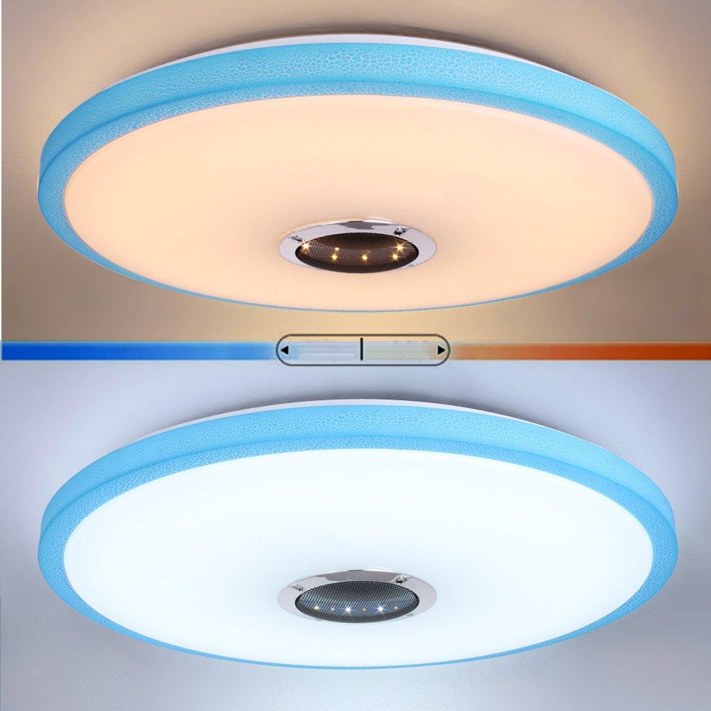 LED Lampara techo HOREVO Ø49.5cm 36W Lámpara de techo Azul con altavoz Bluetooth integrado RGB, Plafón Regulable con mando a distancia, Iluminación ...