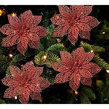 poinsettia ornaments pack of 12 glitter poinsettia flowers with metal clip holiday decorations - Flower Christmas Ornaments
