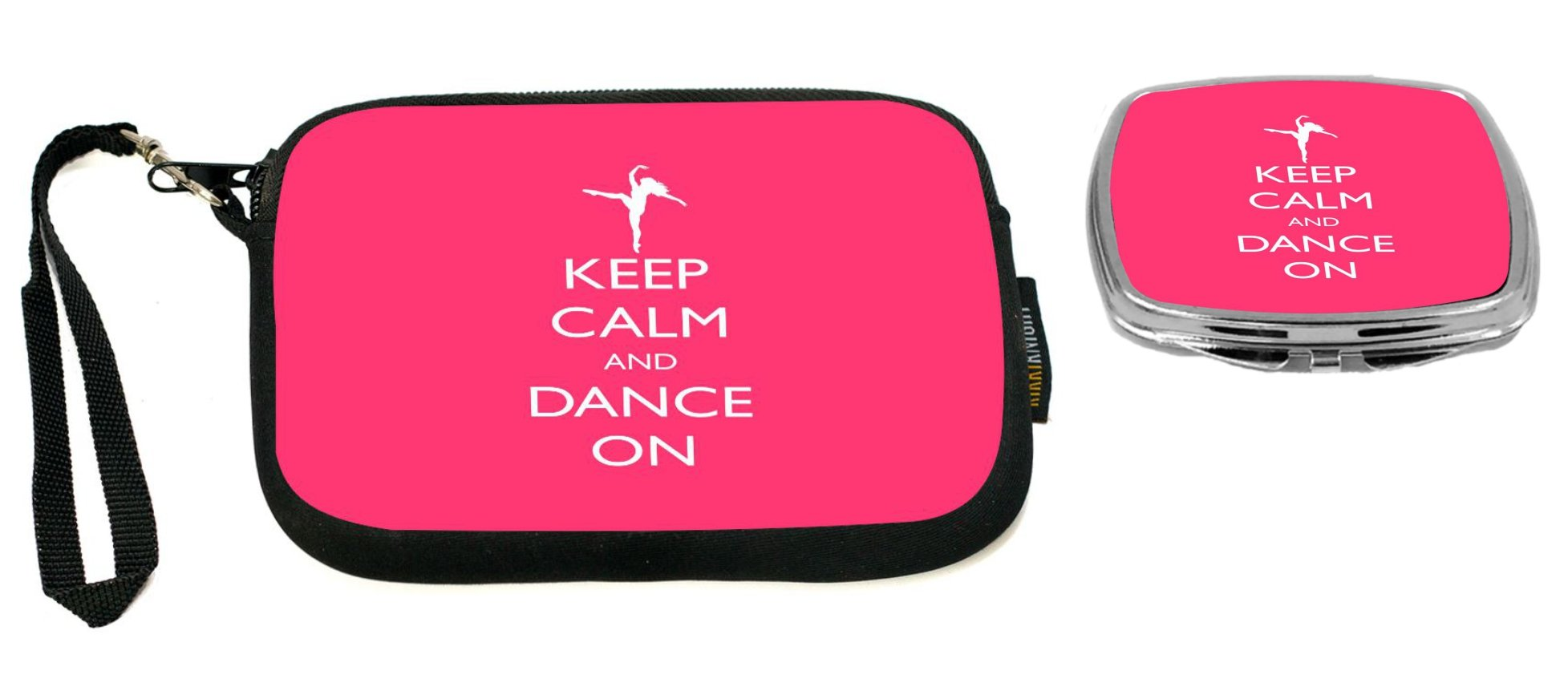 Rikki Knight Keep Calm and Dance On Tropical Pink Color Design Neoprene Clutch Wristlet with Matching Square Compact Mirror