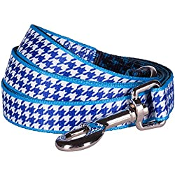 "Blueberry Pet Durable Classy Houndstooth Statement Dog Leash 5 ft x 3/4"" in Royal Blue, Medium, Leashes for Dogs"