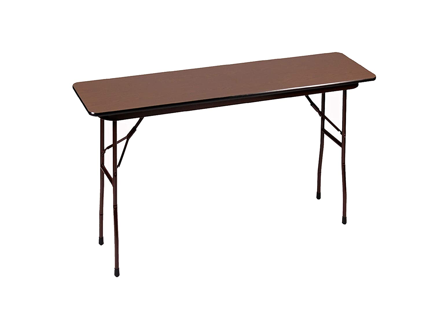 Correll CF1848M-01 18 Width x 48 Length x 29 Height Walnut Rectangular Melamine Fixed Height Top Folding Table