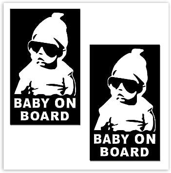 Skinoeu 2 Stück Vinyl Aufkleber Autoaufkleber Stickers Baby On Board Kind Kinder An Bord Kind Sicherheit Auto Motorrad Fahrrad Fenster Tür B 172 Auto
