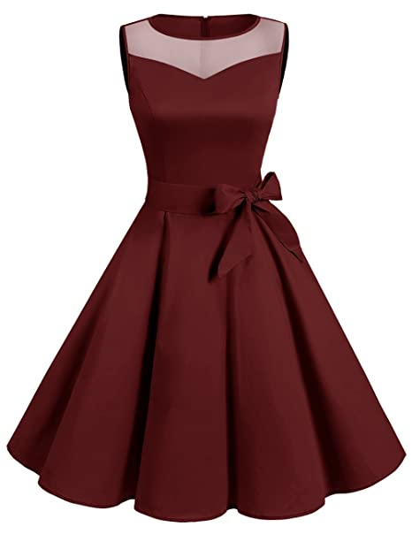 Dresstells® Vestido Mujer Corto Retro Vintage 1950 Sin Mangas Fiesta Boda Burgundy S