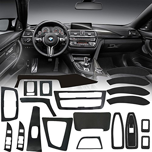Xotic Tech Carbon Fiber Vinyl Interior Decal Sticker Trim Package for 2013-2017 BMW 3 Series F30 ()