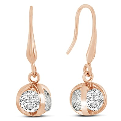 cc8ea6d44 Buy Sparkle Bargains Sparkle Bargain's Women's Fashion Rose Gold-tone  Swarovski Elements Sparkle Ball Earrings Online at Low Prices in India |  Amazon ...
