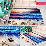 MAXYOYO 3D Beautiful Sunset Wave Carpet Living Room Bedroom Bedside Area Rug 47 by 63 Inch Soft Non-slip Bedroom Carpet Large Carpet Rug Review