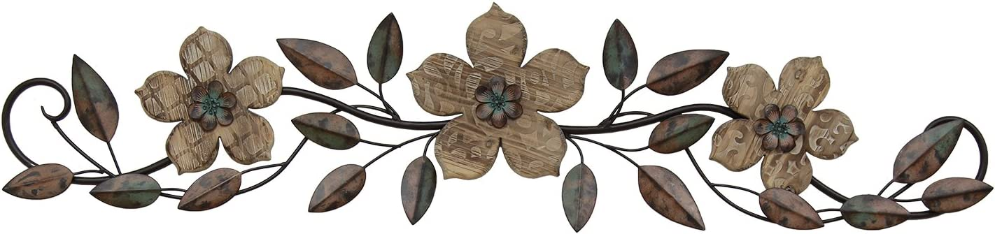 Stratton Home Decor S01207 Floral Patterned Wood Over The Door Wall Decor, 37.99 W x 1.36 D x 8.86 H, Multi