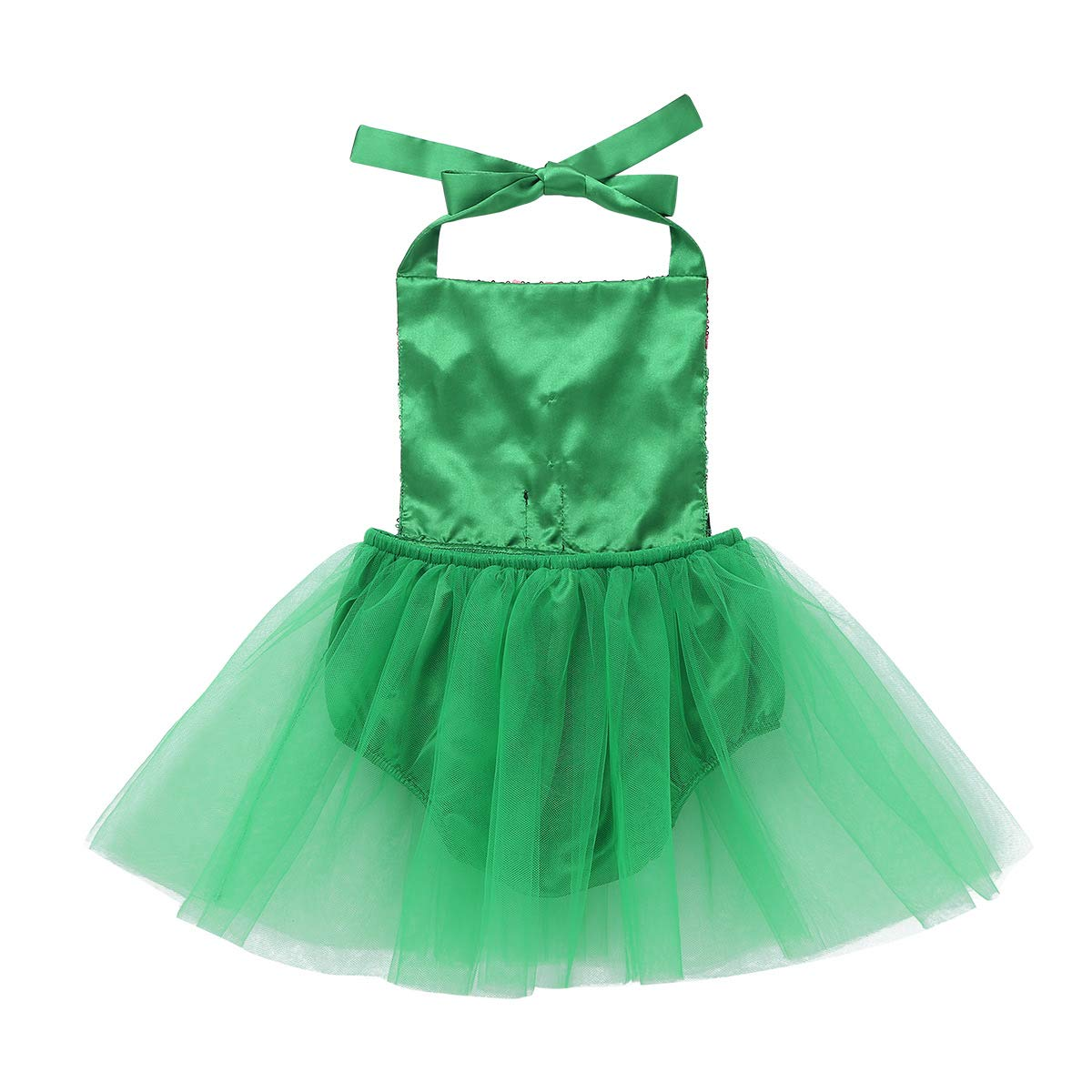 TiaoBug Infant Baby Girls Christmas Elf Costume Outfit Santa Little Helper Halter Tutu Romper Jumpsuit Green 2-3 Years