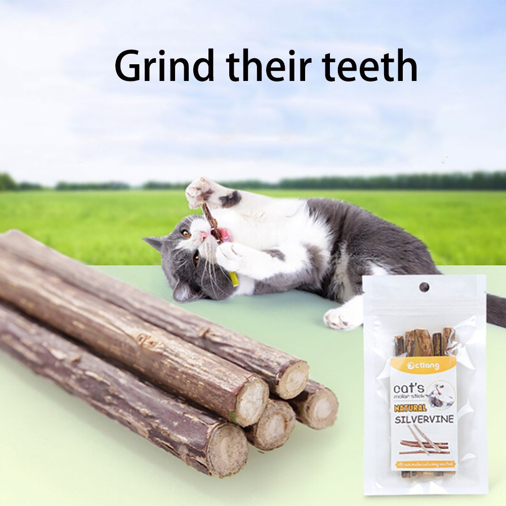5PCS Pet Cat Kitten Chew Stick Toy Catnip Molar Treat Toy Natural Matatabi Catnip Molar (Gray)