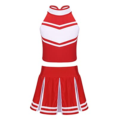 YiZYiF Little Girls' Kids Cheer Uniform Costume Christmas Party Halloween Cheerleading Fancy Dress Outfits: Clothing