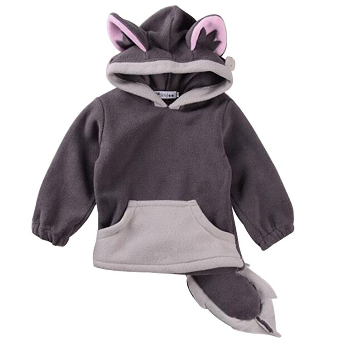 REWANGOING Little Girls Cute Fox Hoodie Pullover Cape Cloak Outwear Coat VLOKCOAT91