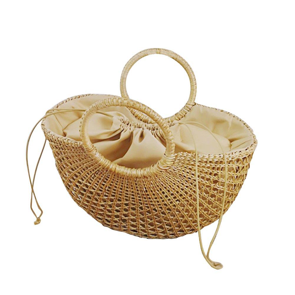 6a25e186008fd Stroh Strand Griff-Tasche Sommer Handtasche Gewebe Handtaschen Shopper Korb  rund handgefertigt handgeflochtenem der Tasche Outdoor Taschen Casual  Reisen ...