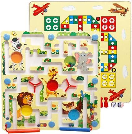 Kit de juego de mesa con doble cara magnética laberinto rompecabezas de juguete para niños de Educación de ajedrez magnético laberinto Avión Animal: Amazon.es: Juguetes y juegos