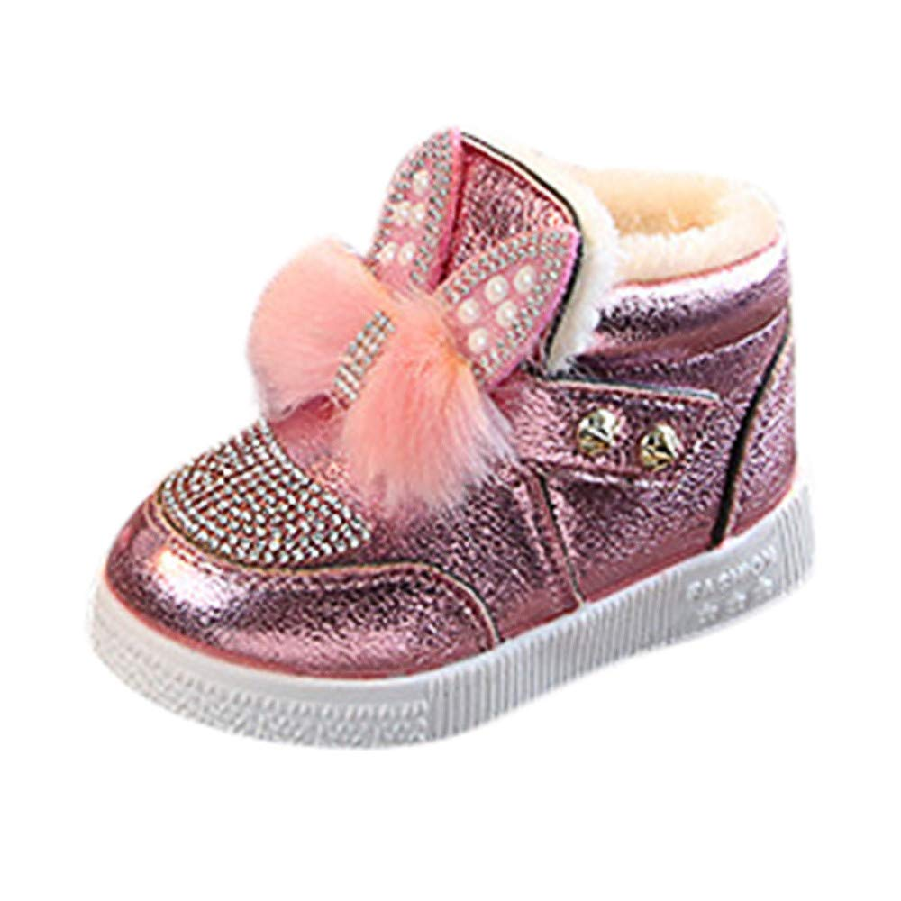 Age: 4.5-5 Years, Gold Leather Ankle Warm Shoes Girls Pearl Sequins Bunny Ear Plush Sneaker Boots for 1-6 Years Old