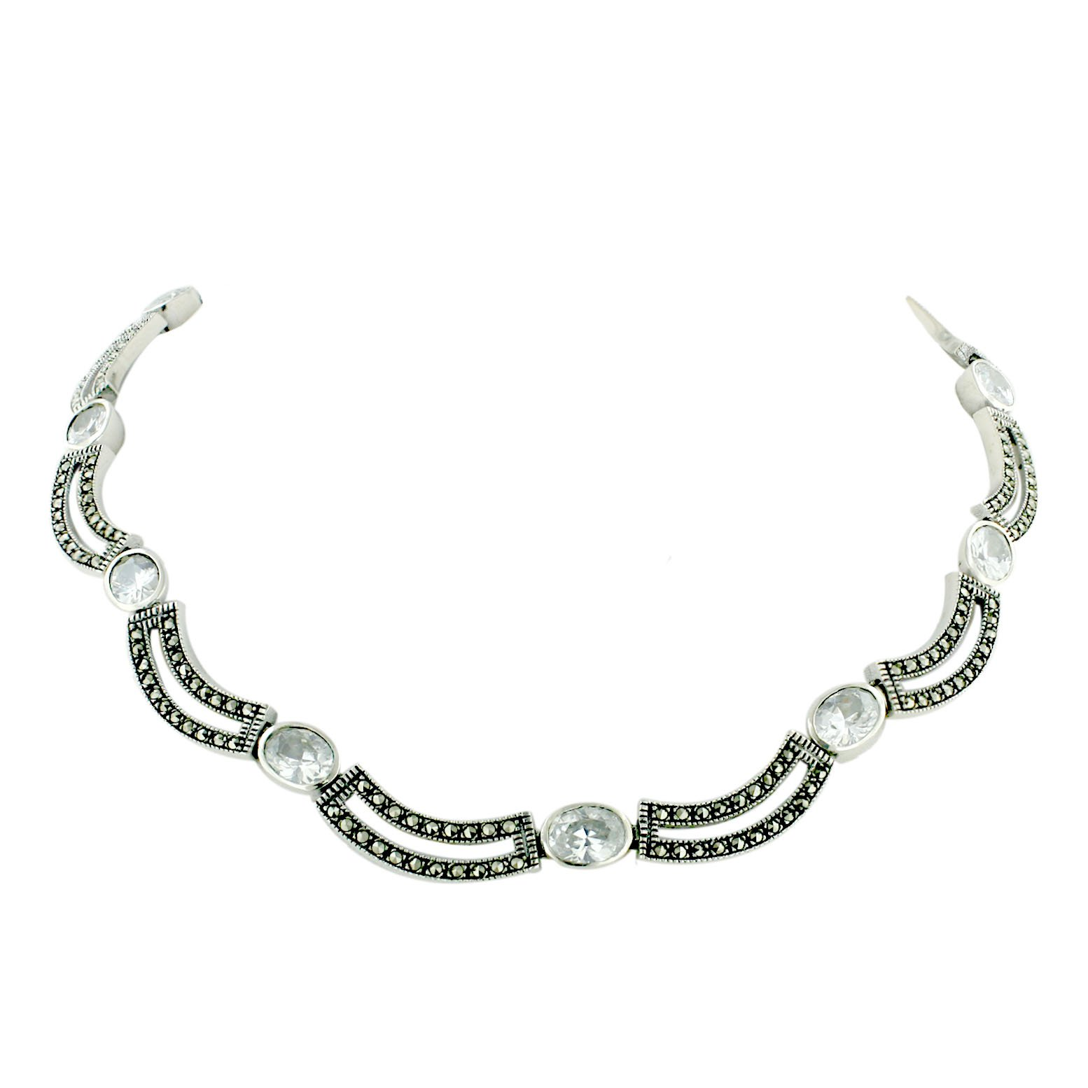 Sterling Silver Marcasite 17 Inches Pave Marcasite Open Wave Link with CZ Necklace (White)
