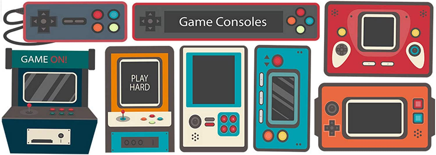 Gaming Controllers Vinyl Wall Decal Game Consoles Peel /& Stick Art Decor for Nursery Boys Room Wall Vinyl Decal Game Wall Stickers Video Game Wall Decals