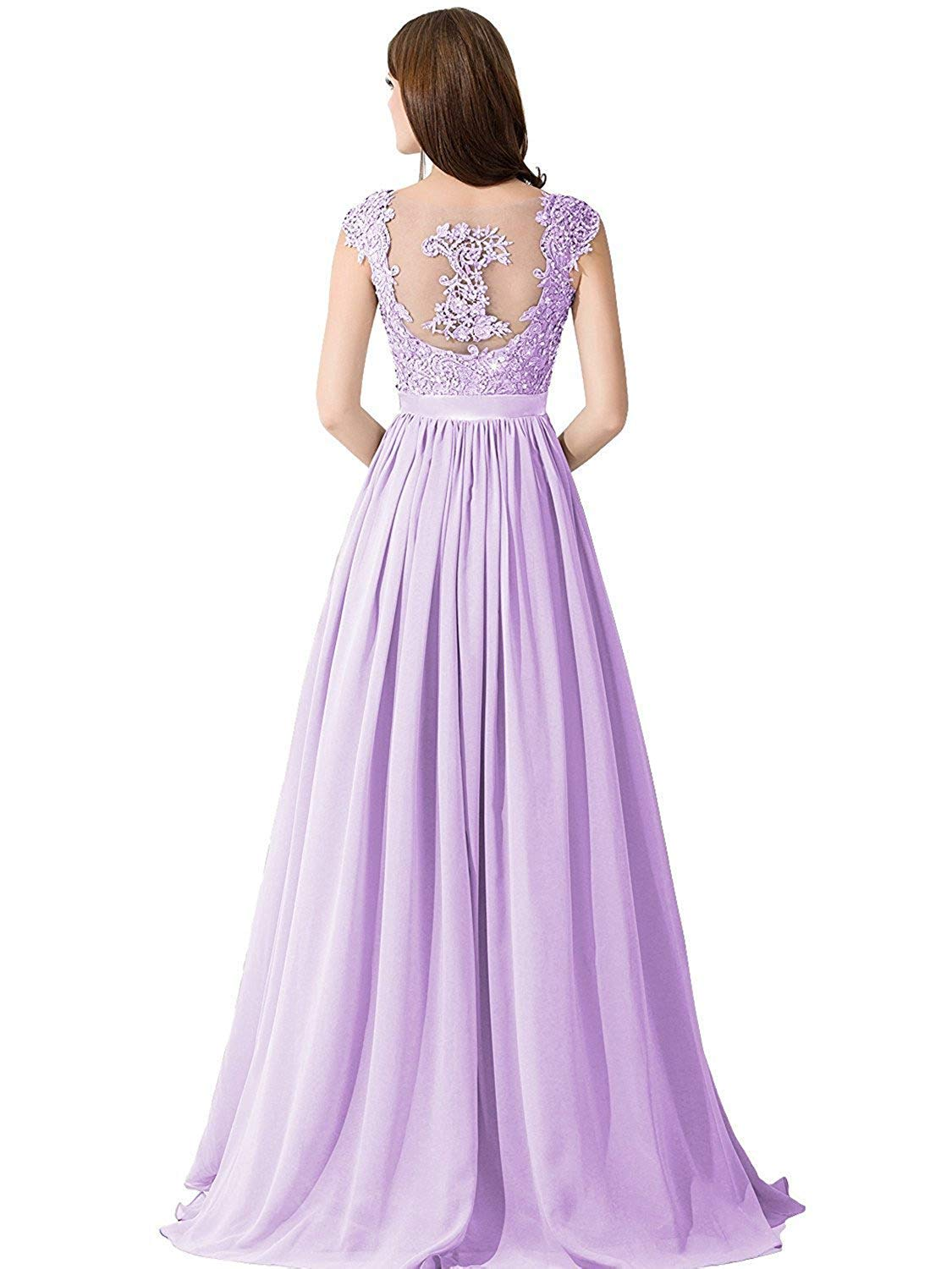 0b884d018 Babyonlinedress Women's Elegant Lace Chiffon Maxi Evening Cocktail Party  Gowns,Lilac,Size 16