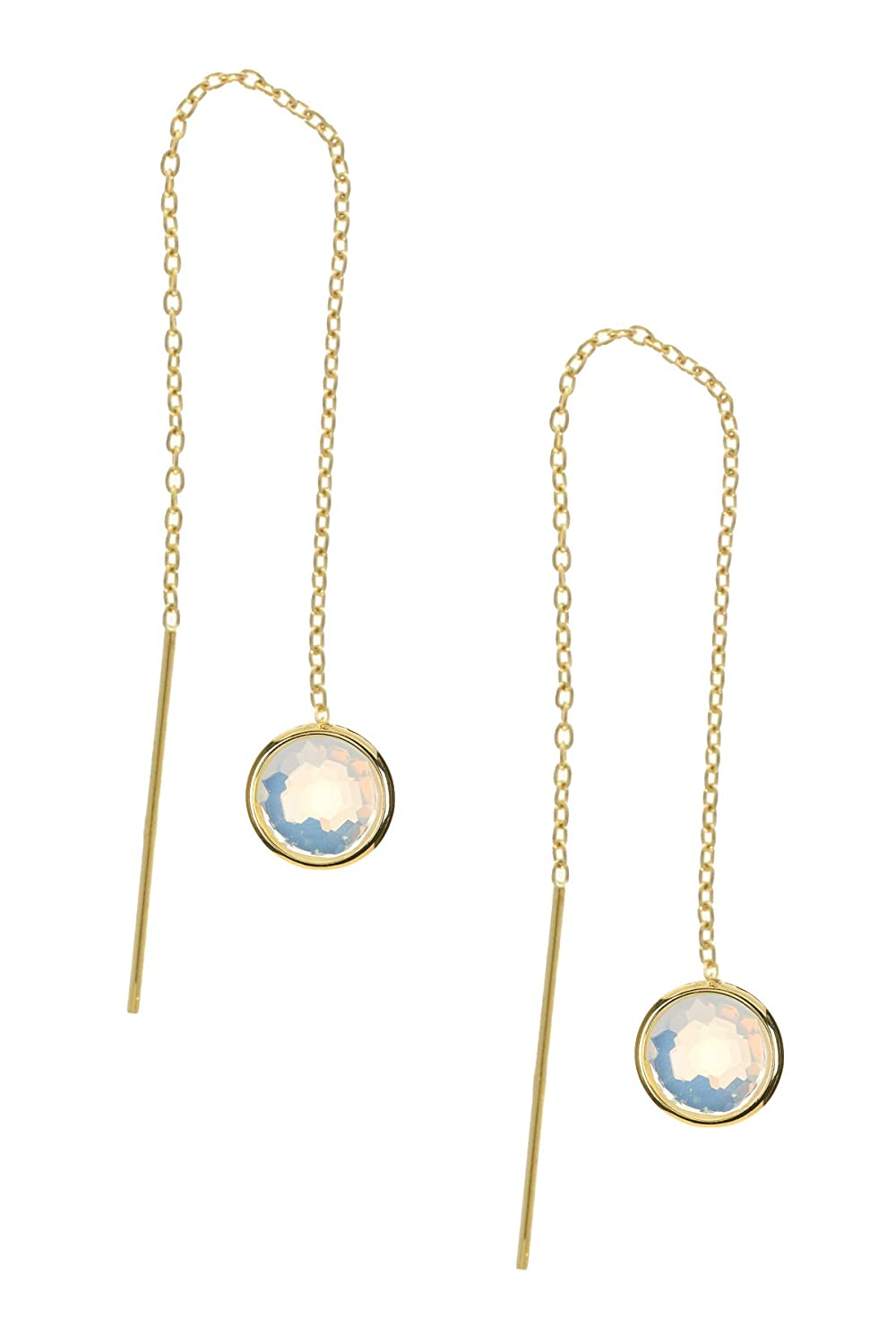 Moonstone Round Pull Through Wholesale Gemstone Fashion Jewelry Drop Earrings