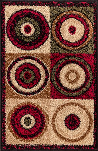 Well Woven Billy Rings Abstract Geometric Contemporary Modern Boxes Color Block Circles and Dots Red Beige Ivory Green Kitchen Bathroom Entryway Ultra Value Doormat 2x3 (1'8