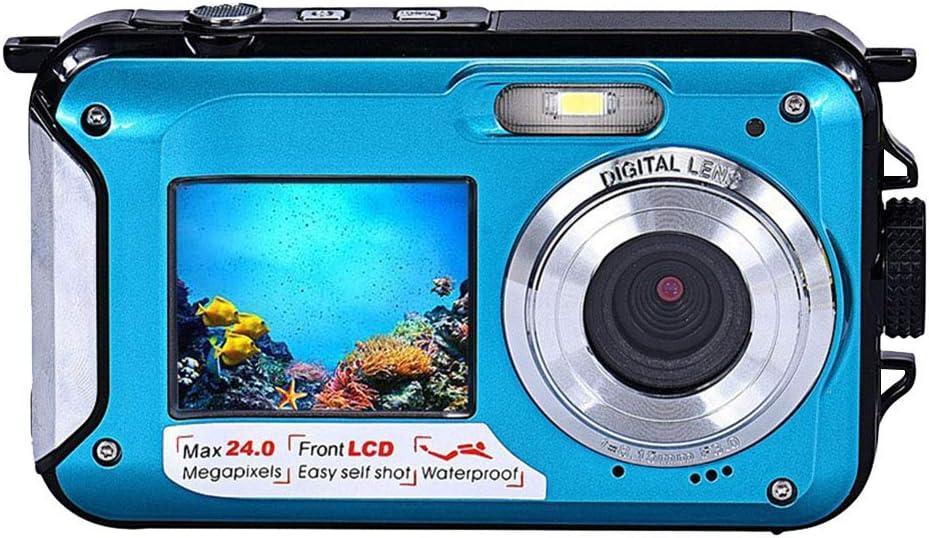 フルHD 防水カメラ デジカメ 1080P (青) 防水デジタルカメラ オートフォーカス 水中カメラ デジタルカメラ 24.0MPデュアルスクリーン