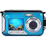 防水カメラ デジタルカメラ 水中カメラ フルHD 1080P 防水デジタルカメラ 24.0MPデュアルスクリーン オートフォーカス デジカメ (青)