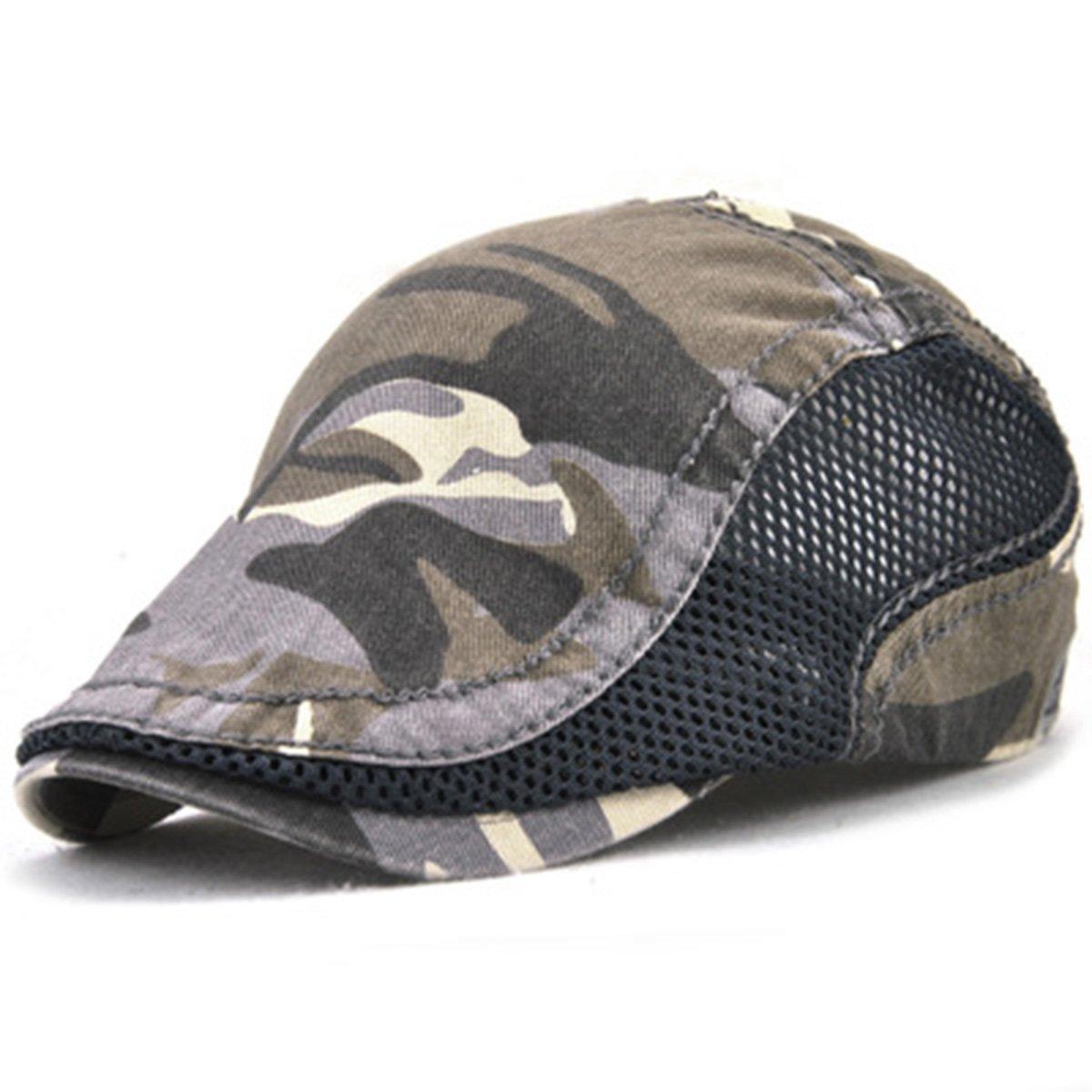 ZLSLZ unisex Camouflage Beret Hat Outdoor Ivy Newsboy Gatsby Cabbie Cap