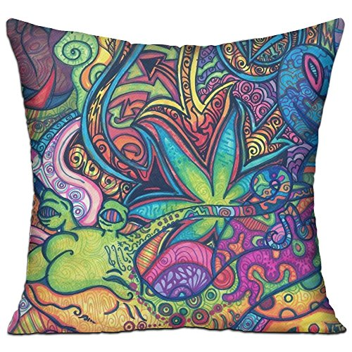 ART TANG Square Pillow Covers - Trippy Marijuana Leaf Weed