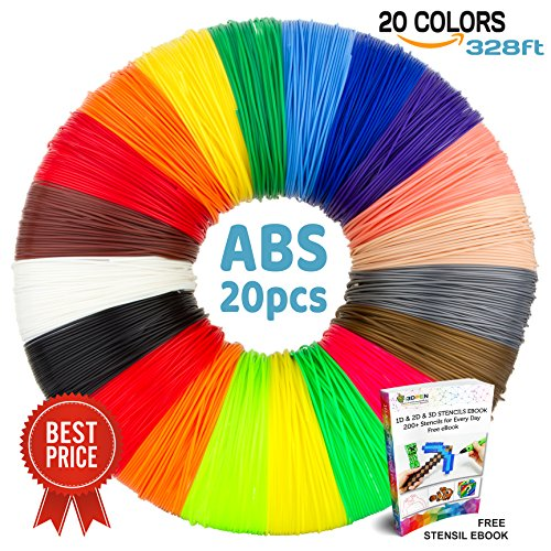 3D Pen Filament Refills - Premium 21 Colors 689ft with 200 Stencils eBook including 6 Glow in the Dark - 1.75mm PLA Filament Pack for 3D Pen Scribbler MYNT3D LIX Soyan 7TECH Manve etc (100% ABS)