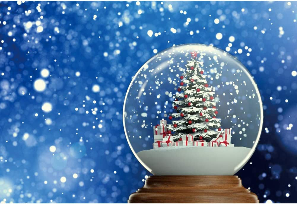 Leyiyi 8x6ft Crystal Ball Blue Backdrop Xmas Decoration Tree Gift Boxes Virtual Focus Merry Christmas Happy New Year Photography Studio Fabric Background Photobooth Prop