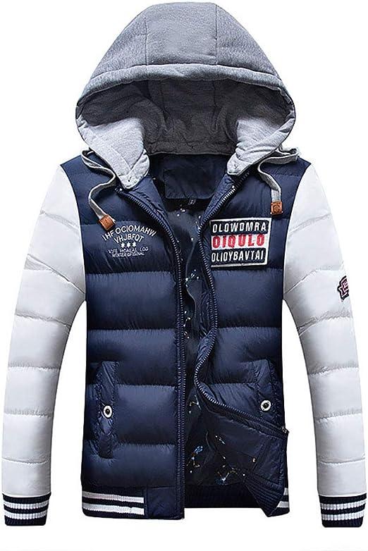 メンズジャケットフード付きコート、冬カジュアルパッド入りコットン厚ジャケット、フルジップフード付き長袖コート