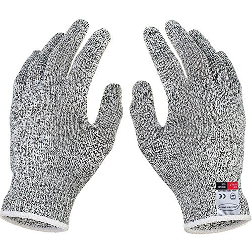 (1 Pair Safety Cut Resistant Gloves Food Grade Level 5 Protection Working Cutting Handing Butcher Labor Glove WHITE L)