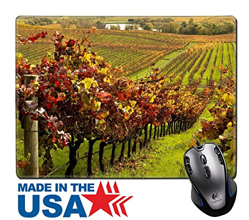 "MSD Natural Rubber Mouse Pad/Mat with Stitched Edges 9.8"" x 7.9"" IMAGE ID: 28010873 Napa Valley Vineyards in Autumn - Edge Napa Valley Cabernet"
