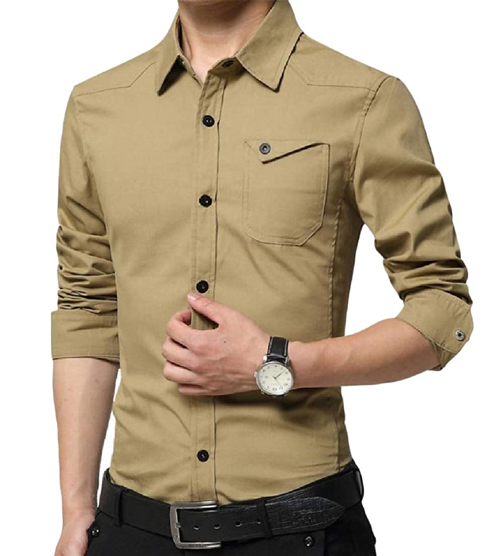 Etecredpow Mens Solid Long Sleeve Turn Down Pocket Fashion Button Up Shirts