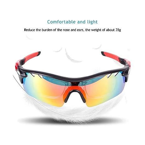 IKuaFly Gafas Ciclismo, Gafas de Sol Polarizadas con 5 Lentes Anti-Fog 400 UV TR90 Marco, Rojo: Amazon.es: Deportes y aire libre