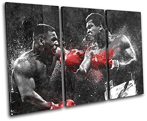 Bold Bloc Design - Dream Fight Boxing Ali Tyson Sports 90x60cm TREBLE Canvas Art Print Box Framed Picture Wall Hanging - Hand Made In The UK - Framed And Ready To Hang by Bold Bloc Design