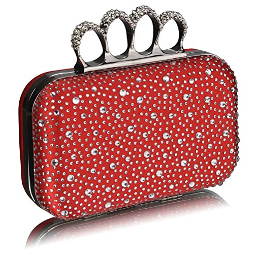 Diamante Handbag Leahward Bag Clutches Women's Wedding Purse Clutch Red Rings Out Night Knuckle Luxury Evening For Beads Ceremony 4qw5RIw