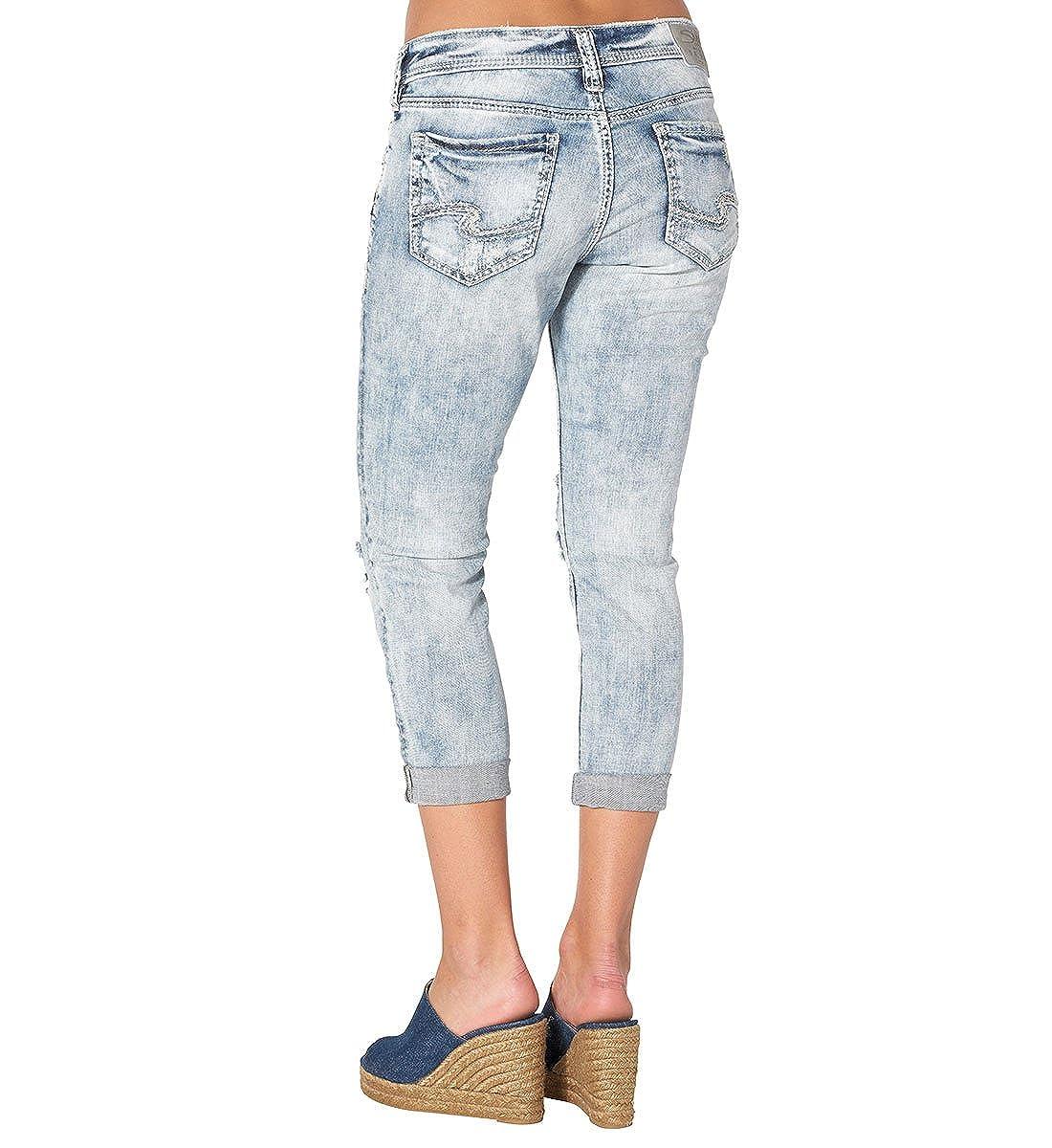 8b5ffb869f2c3 Silver Jeans Women s Sam Boyfriend-Fit Mid-Rise Capri