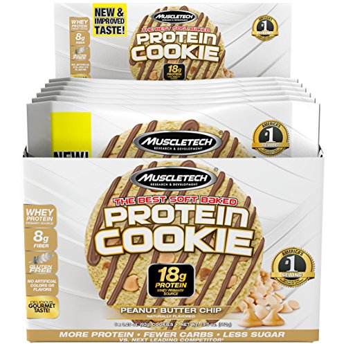 MuscleTech Soft Baked Whey Protein Cookie, Peanut Butter, Gluten-Free, 3.25-ounce (Pack of 6 – 92g)