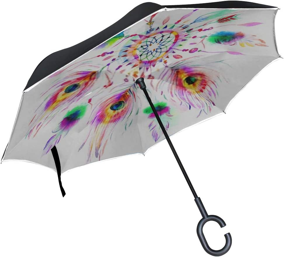 Double Layer Inverted Inverted Umbrella Is Light And Sturdy Dreamcatcher Watercolor Reverse Umbrella And Windproof Umbrella Edge Night Reflection