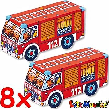 8x Bastel Sets Feuerwehrautos Fur Party Und Kindergeburtstag Von