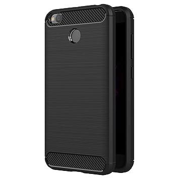 iVoler Funda Xiaomi Redmi 4X / Redmi 4X Pro, Negro Súper TPU Silicona Carcasa Fundas Protectora con Shock- Absorción y Diseño de Fibra de Carbon para ...