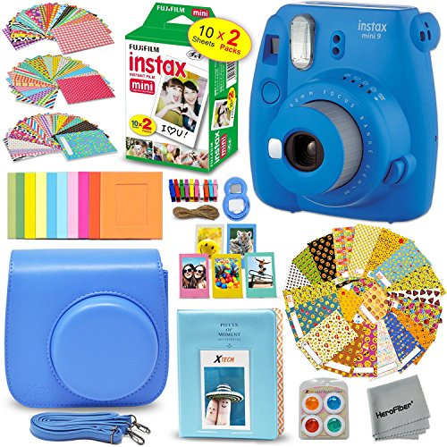 Fujifilm Instax Mini 9 Instant Camera + Accessory Kit, Includes: INSTAX Film (20 pack) + Custom Case + Assorted Frames + Photo Album + 4 Color Filters + Large Selfie Mirror + MORE